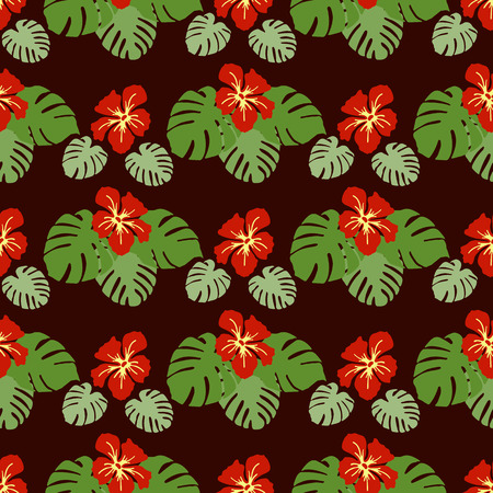 Seamless pattern with monstera leaves and hibiscus flowers. Tropical background. Design for banner, poster, textile, print. Banco de Imagens - 124879655