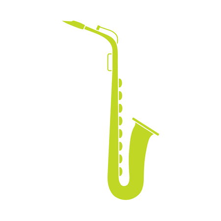 Vector illustration with saxophone. Classical music wind instrument. Stockfoto - 124744398
