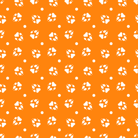 Seamless pattern with dog tracks. Animal background. Design for card, announcement, advertisement, banner or print.