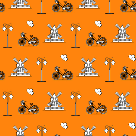 Seamless pattern with windmill, bicycle, lantern. Travel and leisure. Design for banner and print.