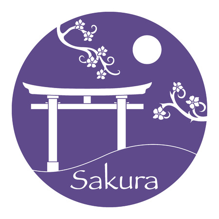 Sakura branches and torii, ritual gates. Japan traditional design elements. Branches of cherry blossoms. Travel and leisure.