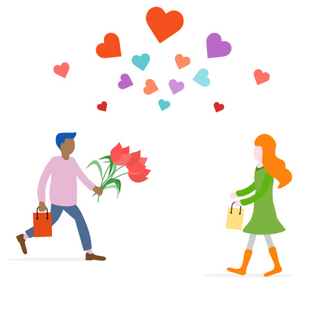 Young man with flowers and gift rushing for a date with woman, hearts. Birthday, Valentines day, Mothers Day vector background. Design for greeting card, banner, poster or print.