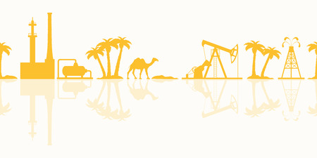 Vector seamless pattern with equipment for oil production, refinery plant, camel, palm trees. Heading or footer banner.