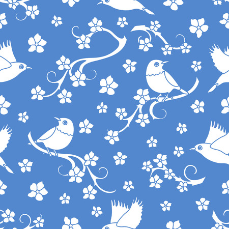 Seamless pattern with sakura branches, birds. Japan nature. Branches of cherry blossoms. Design for card, announcement, advertisement, banner or print. Ilustração