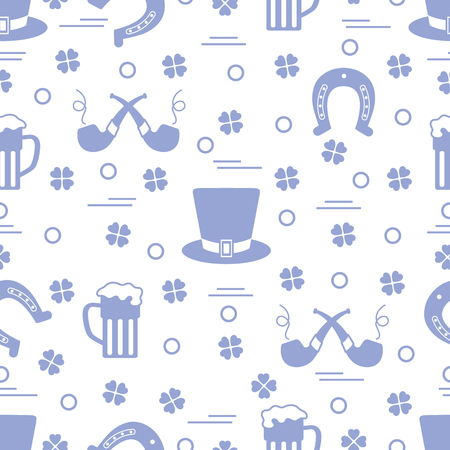Seamless pattern with clover leaves, horseshoe, beer mug, hat, smoking pipe. St. Patricks Day. Holiday background. Irish vector pattern. Design for banner, poster, textile, print.