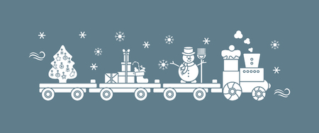 Funny vector illustration with Christmas train carries Christmas tree, snowman with broom, gifts. Happy New Year 2019, Christmas card.