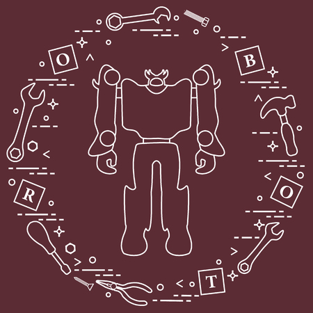 Robot, cubes with letters, toy tools (screwdriver, wrench, screw, hammer). Toys for children. Robotics, technologies. Design for banner, poster or print.  イラスト・ベクター素材