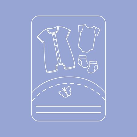 Vector illustration with baby clothes. Slip, socks, bodysuit. Things necessary for newborns. Banque d'images - 124744456