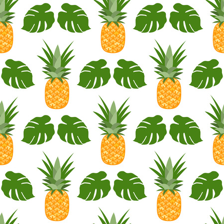 Vector seamless pattern with pineapples, monstera leaves. Tropical fruit. Summer background. Illustration