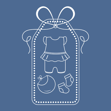 Vector illustration with baby clothes. Bib, socks, bodysuit. Things necessary for newborns. Banque d'images - 124744466