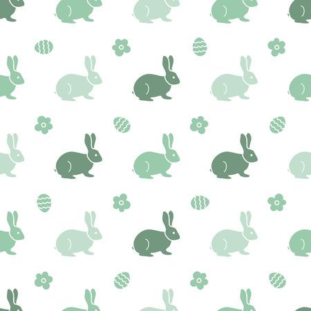 Seamless pattern with Easter Bunny. Happy Easter. Festive background. Rabbits, hares. Design for banner, poster or print. Ilustração Vetorial