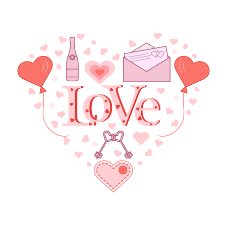 Balloons, keys, envelope with letter, bottle, stitched heart with button in the shape of a heart. Inscription love with hearts. Birthday, Valentines day vector background.