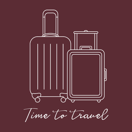 Vector illustration with two suitcases. Summer time, vacation. Leisure. Çizim