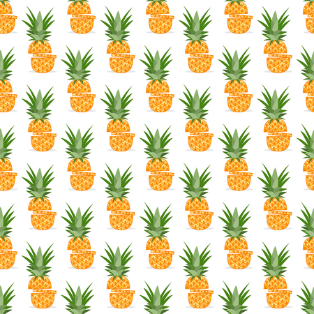Vector seamless pattern with pineapples, pineapple slices. Tropical fruit. Summer background.