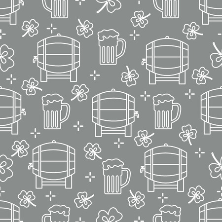 Seamless pattern with clover leaves, beer barrel, beer mug. St. Patricks Day. Holiday background. Irish vector pattern. Design for banner, poster, textile, print. Illustration