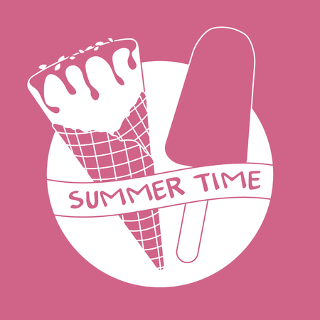 Vector illustration with delicious ice cream cone and ice lolly. Inscription summer time. Stok Fotoğraf - 124744500
