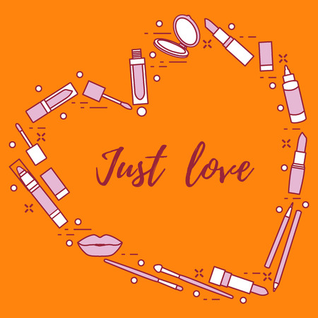 Vector illustration with decorative cosmetics for the lips, located in shape of heart and the inscription just love. Big sale and shopping concept. Design for banner, poster or print. Standard-Bild - 124691969