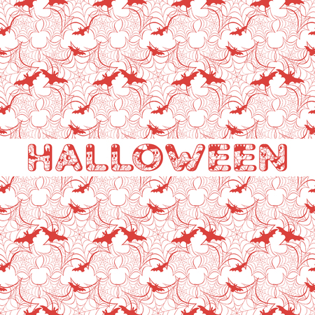 Halloween vector seamless pattern with web and bat. Design for party card, wrapping, fabric, print. Banque d'images - 124691974