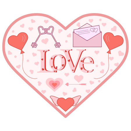 Balloons, keys, envelope with letter, arrow, heart with wings in the shape of a heart. Inscription love with hearts. Birthday, Valentines day vector background.