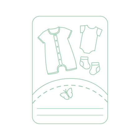 Vector illustration with baby clothes. Slip, socks, bodysuit. Things necessary for newborns. Banque d'images - 124691988