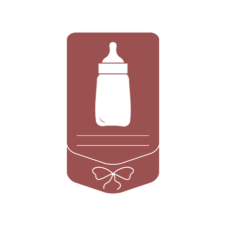 Vector illustration with baby bottle. Feeding bottle. Things necessary for newborns. Nutrition for babies. Banque d'images - 124691997