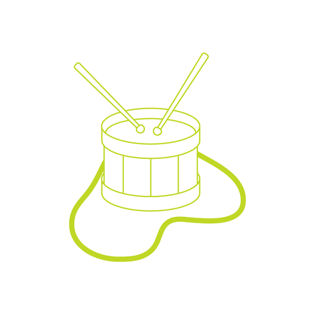 Vector illustration with drum. Musical instrument. Toy. Design for postcard, banner, poster or print. Imagens - 124692039