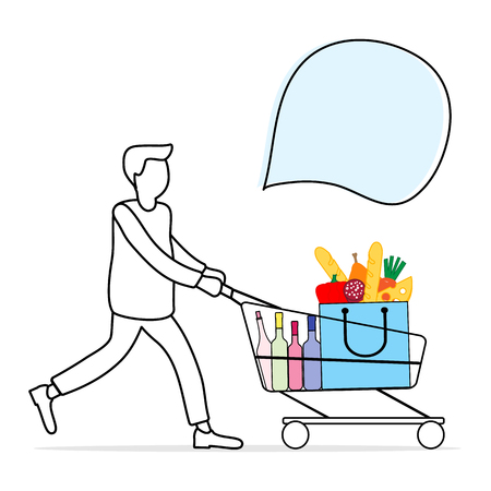 Vector illustration with man carrying a shopping cart with food and drinks from the supermarket. Shopping concept. Design for announcement, advertisement, banner or print.