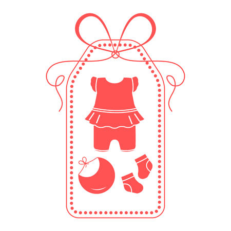 Vector illustration with baby clothes. Bib, socks, bodysuit. Things necessary for newborns. Banque d'images - 124692054