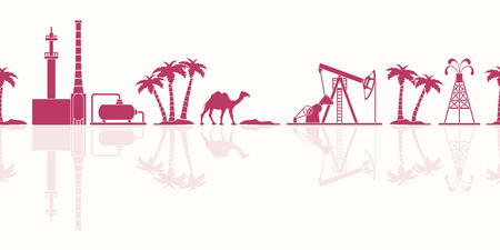 Vector seamless pattern with equipment for oil production, refinery plant, camel, palm trees. Heading or footer banner. Vectores