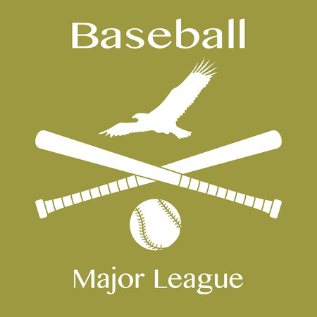 Vector illustration with baseball bats, ball and eagle. Sports background. Design for banner, poster or print. Banque d'images - 124692063