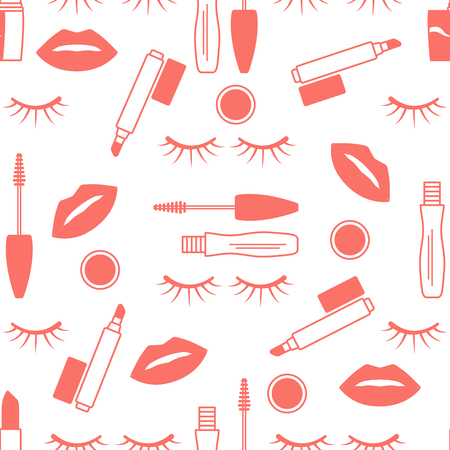 Vector seamless pattern with mascara, eyelashes, lips, lipstick, lip gloss. Decorative cosmetics, makeup background. Glamour fashion vogue style. Design for banner, poster or print. Banque d'images - 124692076