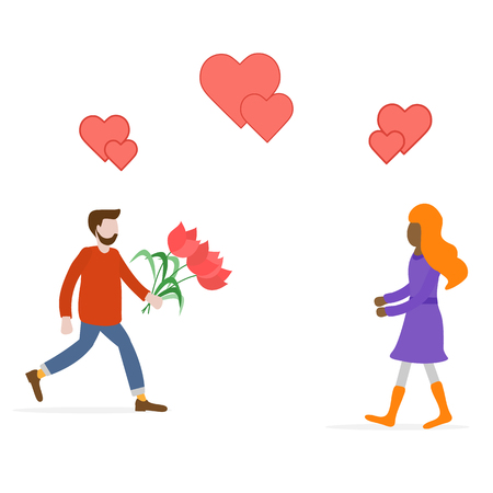 Young man with flowers rushing for a date with woman, hearts. Birthday, Valentines day, Mothers Day vector background. Design for greeting card, banner, poster or print. Ilustração