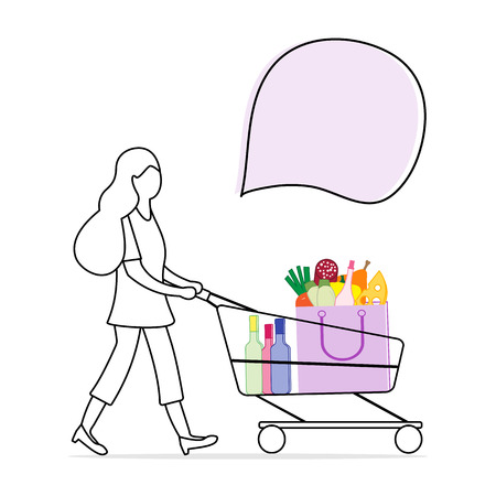 Vector illustration with woman carrying a shopping cart with food and drinks from the supermarket. Shopping concept. Design for announcement, advertisement, banner or print.