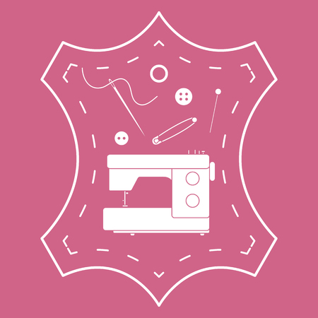 Vector illustration with tools and accessories for sewing. Button, thread, sewing machine, pins, needle. Template for design, fabric, print. Çizim