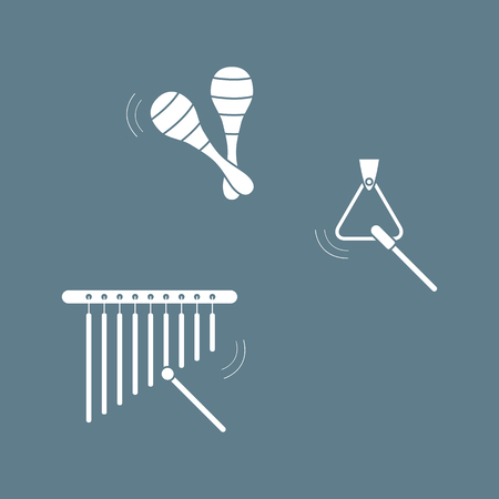 Vector illustration with maracas, bar chimes, triangle. Musical instruments. Toy. Design for postcard, banner, poster or print.