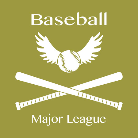 Vector illustration with baseball bats, ball with wings. Sports background. Design for banner, poster or print. 向量圖像