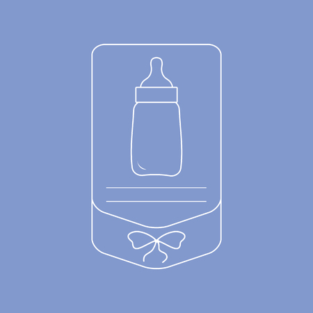 Vector illustration with baby bottle. Feeding bottle. Things necessary for newborns. Nutrition for babies.