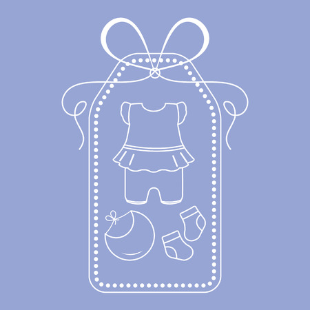 Vector illustration with baby clothes. Bib, socks, bodysuit. Things necessary for newborns. Banque d'images - 124692133