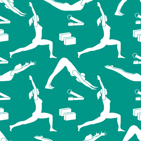 Seamless pattern with women in yoga poses, blocks, belt for yoga. Relax and meditate. Healthy lifestyle. Balance training. Design for banner and print. Vecteurs