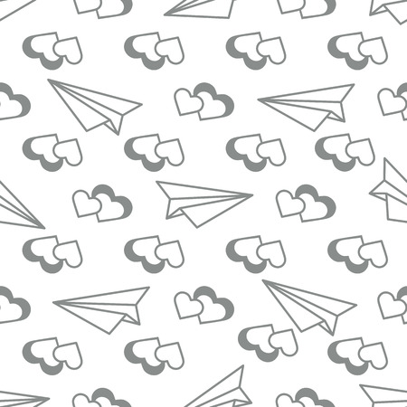 Seamless pattern with paper airplane, hearts. Greeting card happy Valentine's Day. Romantic background. Vector Illustration