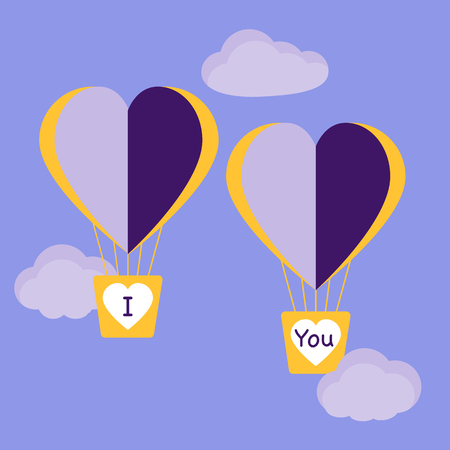Vector illustration with two heart air balloons. Birthday, Valentines day romantic background. Design for greeting card, poster or print.