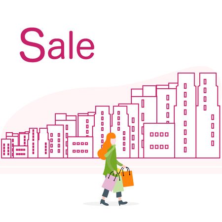 Vector illustration with cityscape, woman carry shopping. Big sale and shopping concept. Design for banner, poster or print.