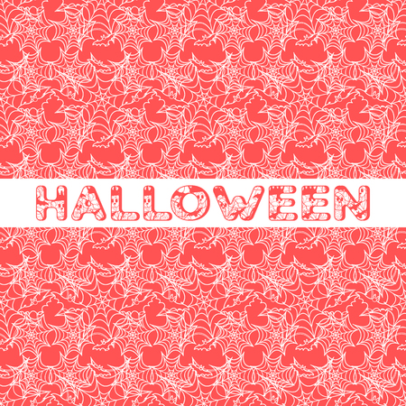 Halloween vector seamless pattern with web and bat. Design for party card, wrapping, fabric, print. Banque d'images - 124692166
