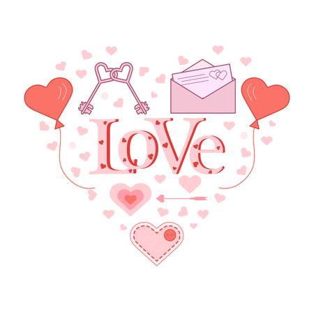 Balloons, keys, envelope with letter, arrow, stitched heart with button in the shape of a heart. Inscription love with hearts. Birthday, Valentines day vector background.