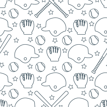 Vector seamless pattern with baseball bats, ball, helmet, baseball glove. Sports background. Design for banner, poster or print. Banque d'images - 124590355