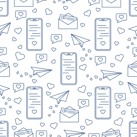 Seamless pattern with paper airplane, envelope, smartphone, sms, hearts. Birthday, Valentines day, Mothers Day, Fathers day, wedding vector romantic background. Ilustração