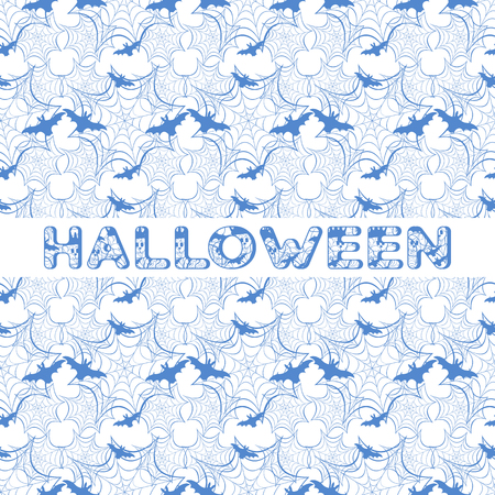 Halloween vector seamless pattern with web and bat. Design for party card, wrapping, fabric, print. Banque d'images - 124590364