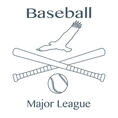 Vector illustration with baseball bats, ball and eagle. Sports background. Design for banner, poster or print.