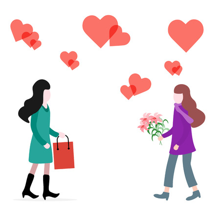 Women with flowers and gifts, hearts. Birthday, Valentines day, Mothers Day, Fathers day vector background. Design for greeting card, banner, poster or print.