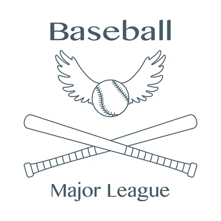 Vector illustration with baseball bats, ball with wings. Sports background. Design for banner, poster or print. Banque d'images - 124590394